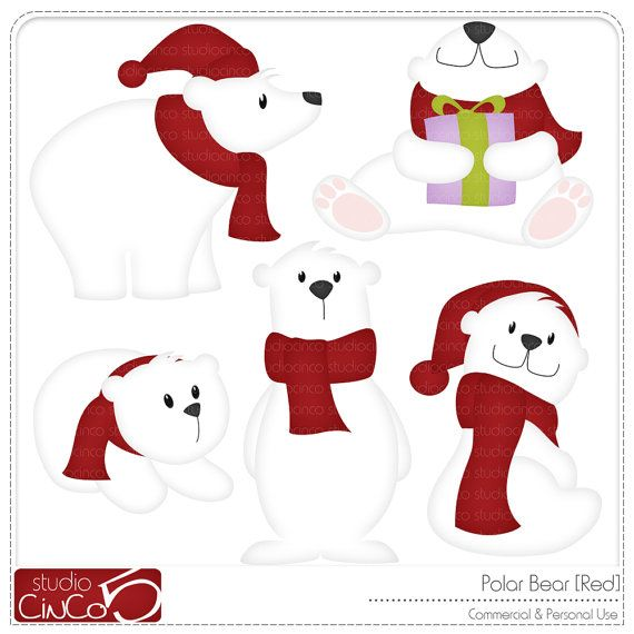 eisb r rot digitales clipart kommerzielle nutzung clipart rh pinterest com clipart polar bear polar bear hunting clipart