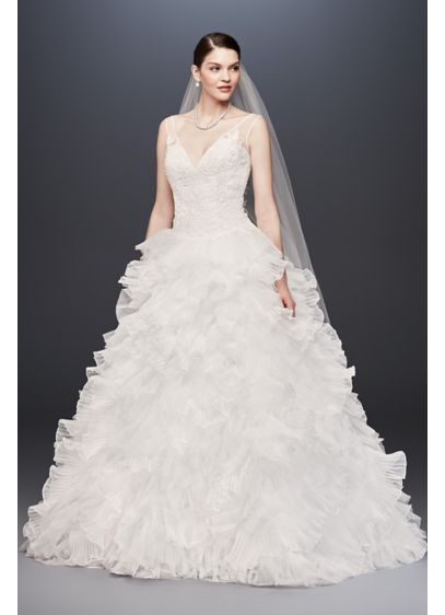 9565ad10 Long Ballgown Formal Wedding Dress - Galina Signature plunging v neck with  tiered skirt