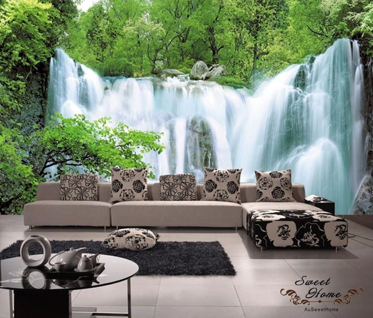 Green Forest Waterfall Full Wall Mural Decal Print ...
