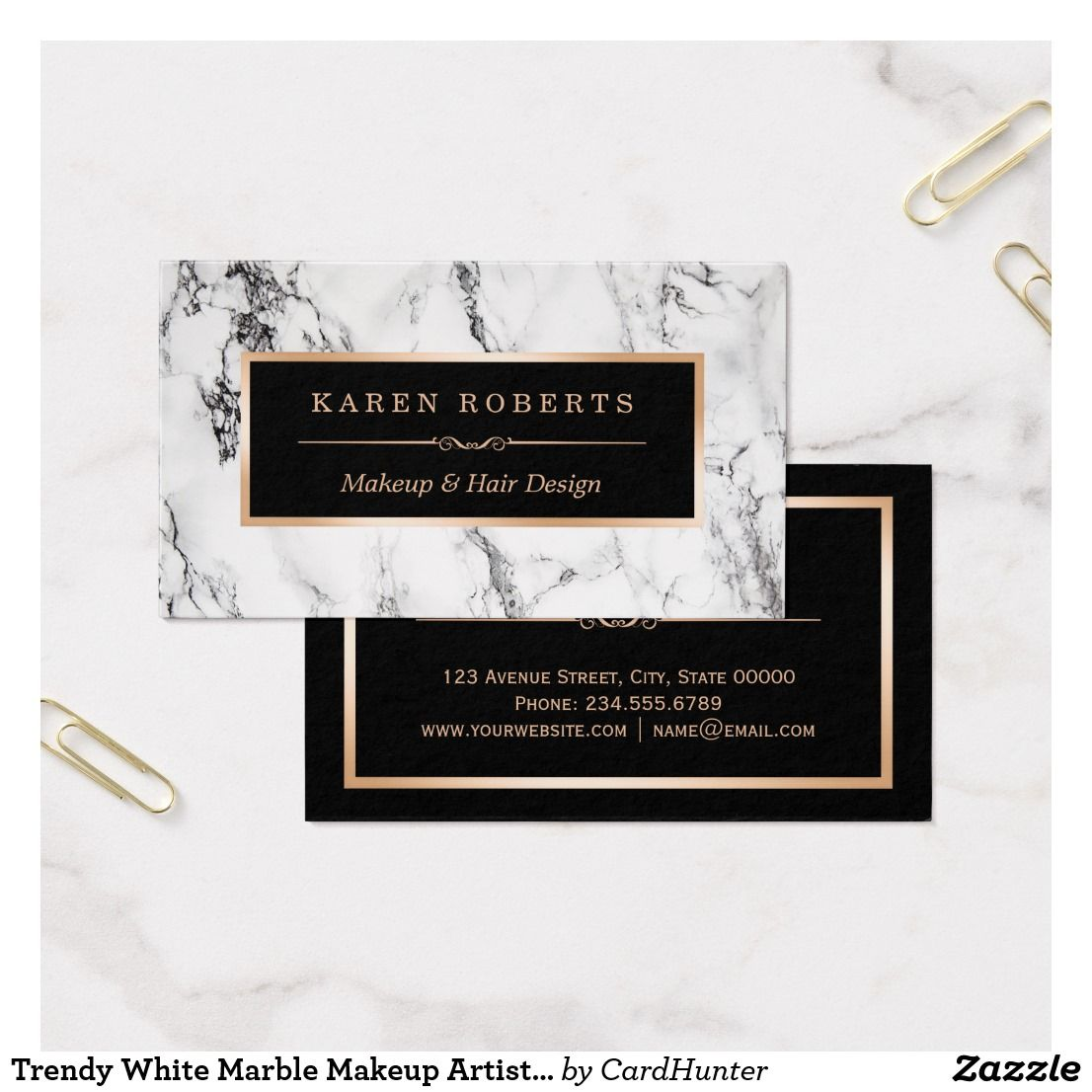 Trendy White Marble Makeup Artist Hair Salon Business Card ...