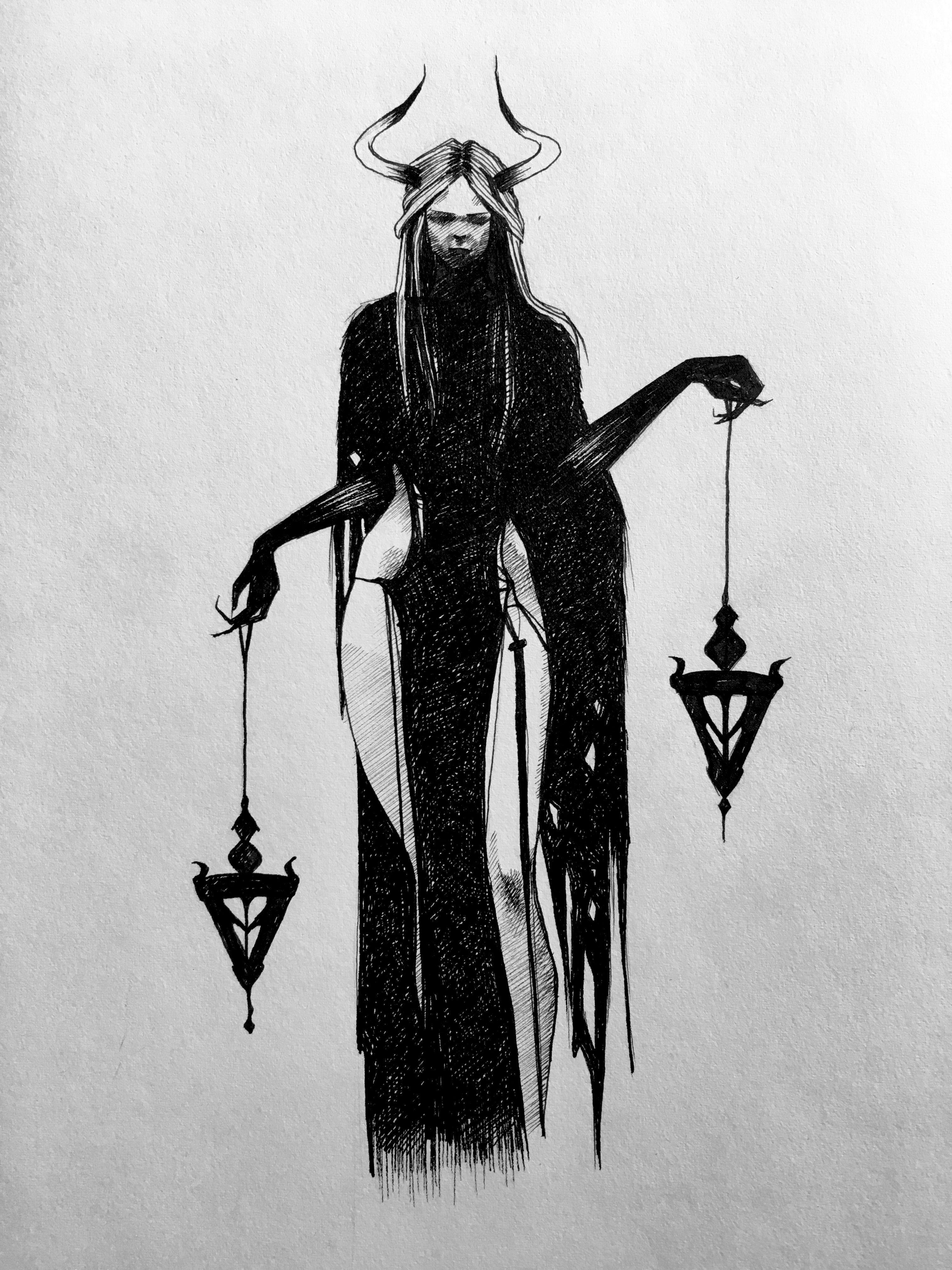 lhuthientinuviel sketch drawing witch tattoo dark art micron