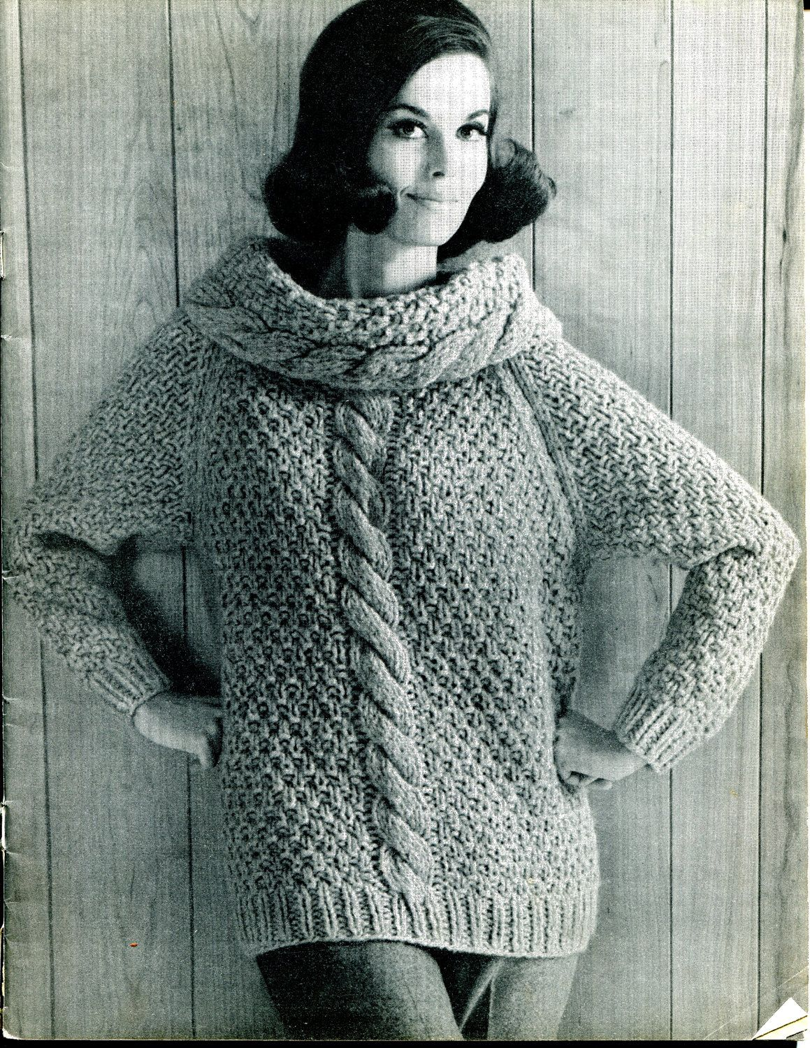1967 Vintage Women\'s Cowl Chunky Cable Knit Sweater Knitting Pattern ...