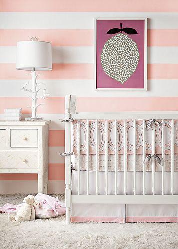Shell Wide Stripe Wallpaper Girl Nursery Wallpaper Baby Girl