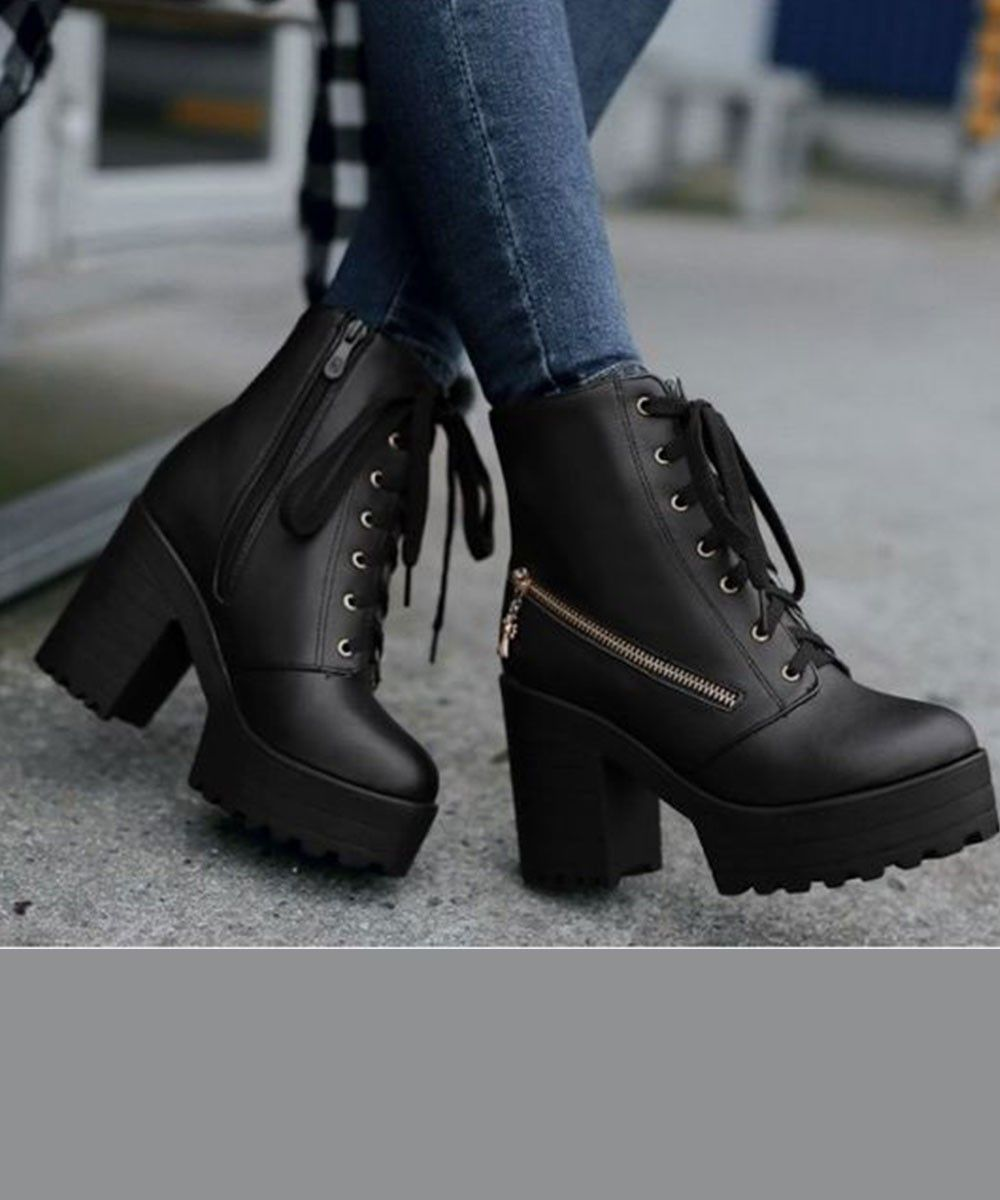 boots from street style store   Cheap combat boots, Black heel ...