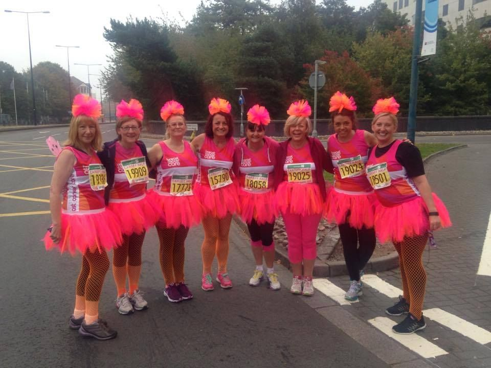 Some beautiful, inspiring ladies doing a charity run in their Honey B's tutus! Perfect for fun runs, charity runs and fancy dress! #pink #prettyinpink #tutu #skirt #charity #charityrun #funrun #honeybs #costume #fancydress