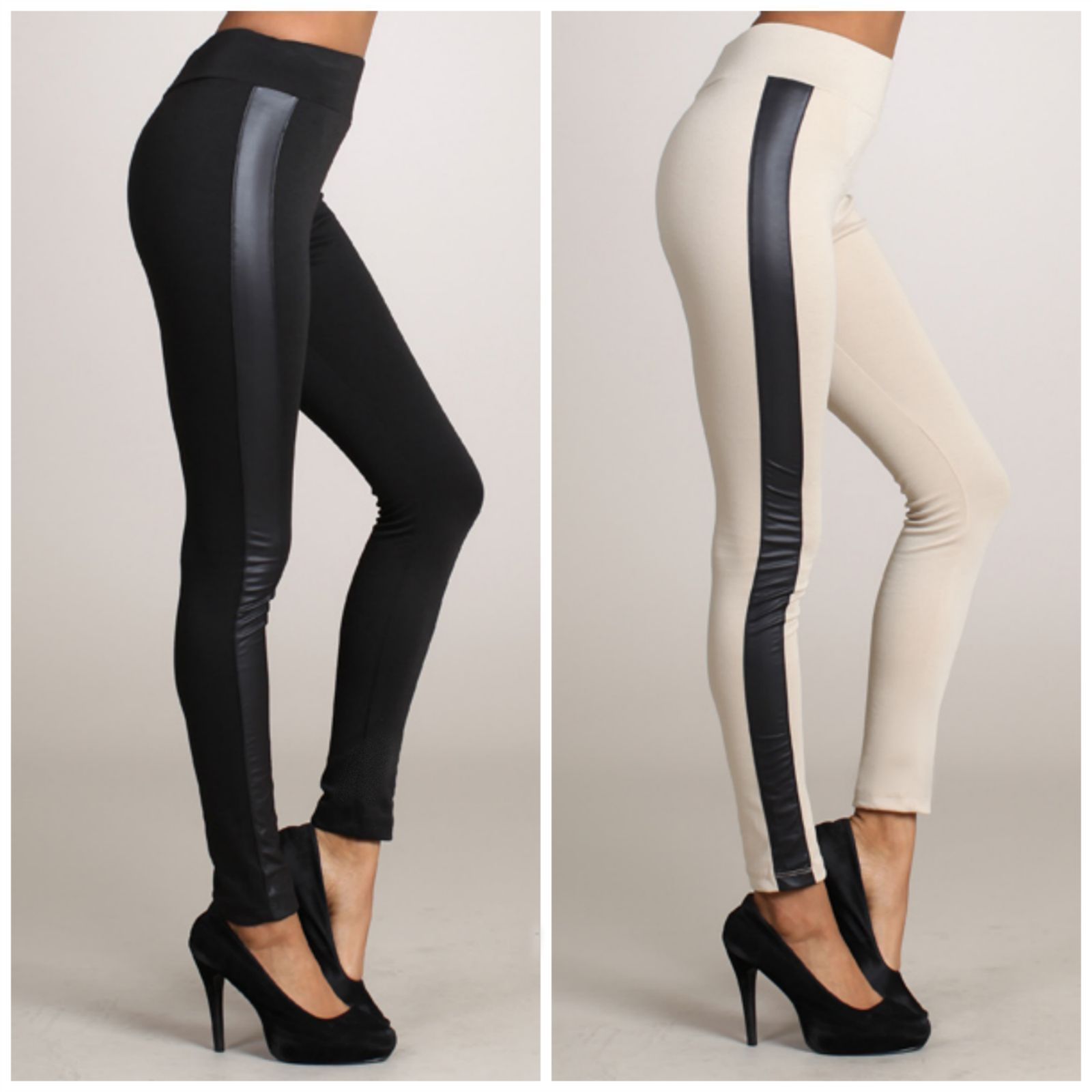Faux leather inset leggings ponte knit tuxedo side stripe skinny ...