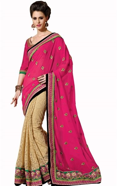 Picture of Admirable Pink and Beige Wedding Saree
