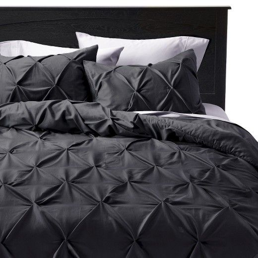 modern master bedroom with threshold seersucker duvet cover set | Modern and luxurious, the Pinched Pleat Comforter Set from ...