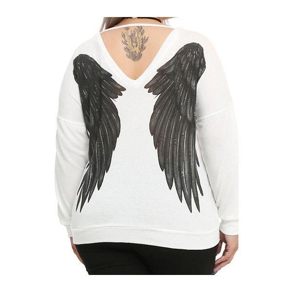 Rotita Wing Print Round Neck White Sweatshirt ($25) ❤ liked on Polyvore featuring tops, hoodies, sweatshirts, white, white top, long sleeve sweatshirt, round neck top, white long sleeve top and white pullover sweatshirt