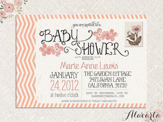 DIY Custom Printable VINTAGE POSTCARD Baby Shower by