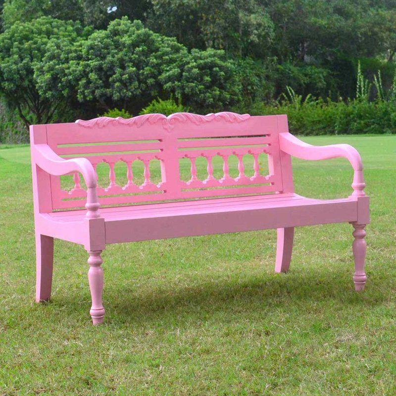 Strange Have To Have It Jazty Kids Outdoor Painted Pink Bench Machost Co Dining Chair Design Ideas Machostcouk