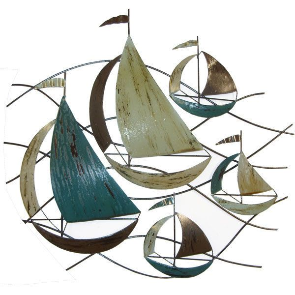 SAILING SHIPS BOATS ON THE WAVES METAL WALL ART PICTURE ...