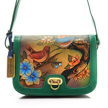 6f1e0576e86d Anuschka Hand-Painted Leather Flap Over Accordion Shoulder or Cross Body Bag