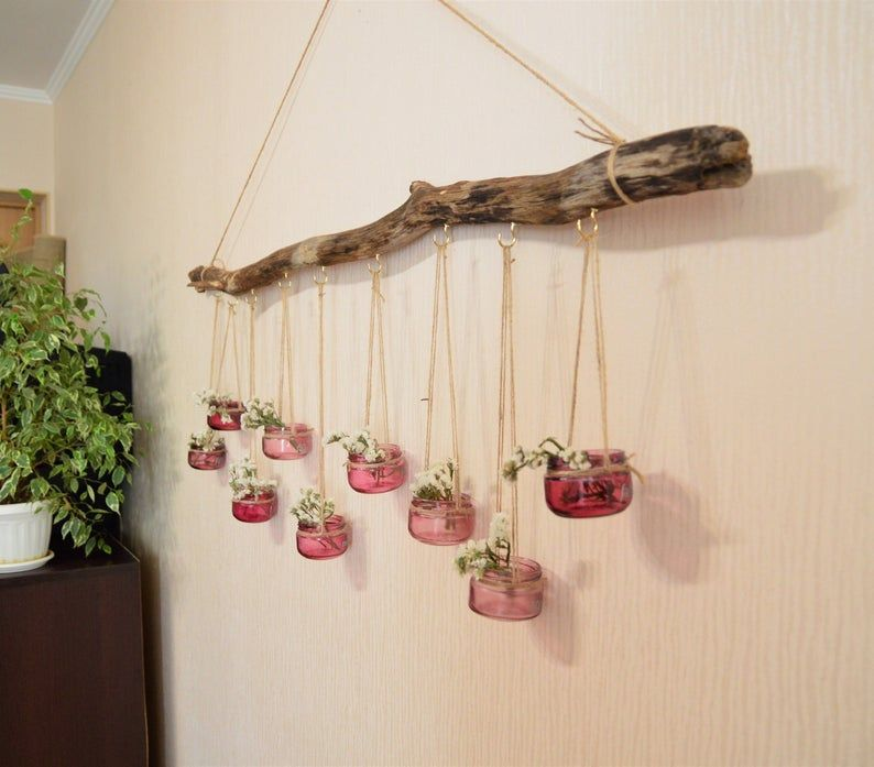 Boho wooden wedding decor, hanging centerpiece, large driftwood wall hanging, mason jars, garden decor, hanging candle holder