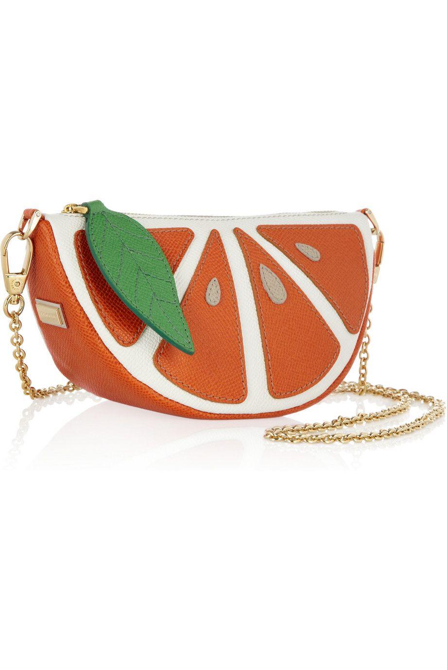 704c8b25877 Dolce & Gabbana Textured-leather orange segment shoulder bag | Looks ...