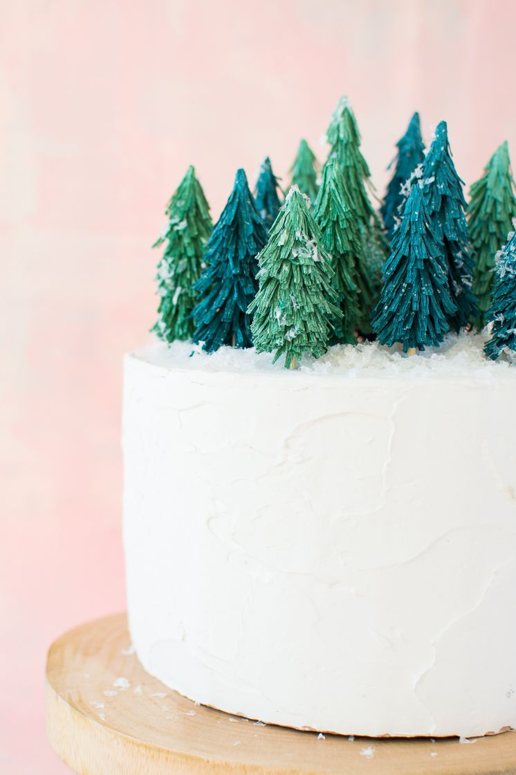Crepe Paper Christmas Tree Cake Topper The House That Lars Built Christmas Tree Cake Tree Cakes Paper Christmas Tree