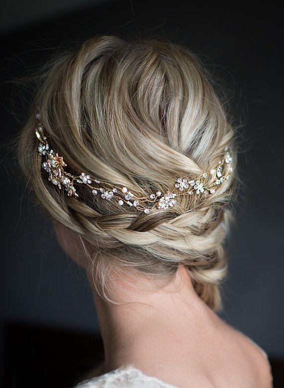 gold hair vine boho half halo rose gold gold silver. Black Bedroom Furniture Sets. Home Design Ideas