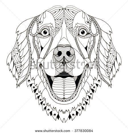 Golden Retriever Dog Zentangle Stylized Head Freehand Pencil