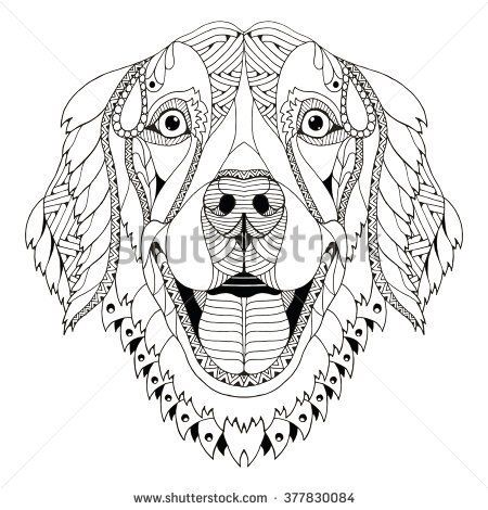 Golden Retriever Dog Zentangle Stylized Head Freehand Pencil
