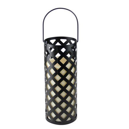 12 Inch Black Metal Criss Cross Lantern With Bisque Led Lighted
