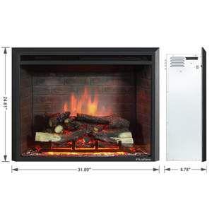 Puraflame Western 750w 1500w Black 30 Inch Electric Fireplace Insert
