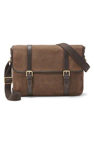 a332baf4f8 Fossil+'Estate'+Twill+&+Leather+Messenger+Bag+available+at+#Nordstrom