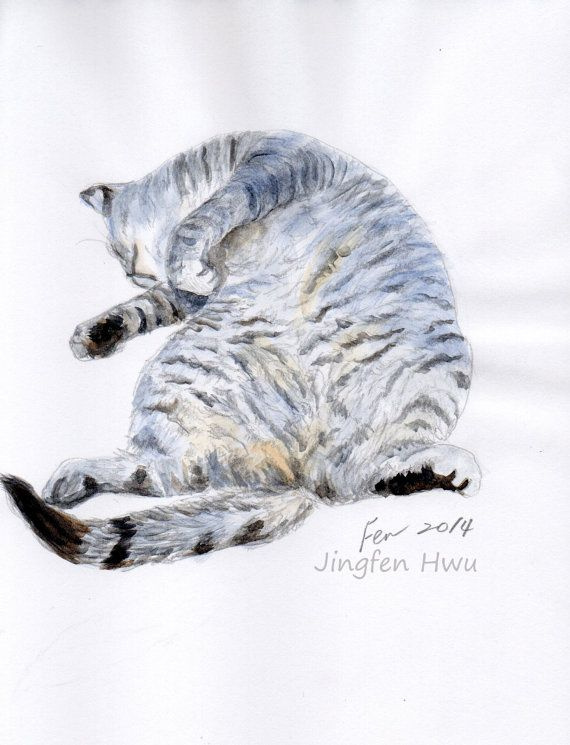 custom portrait of your catMother's Day gift by JingfenHwu on Etsy