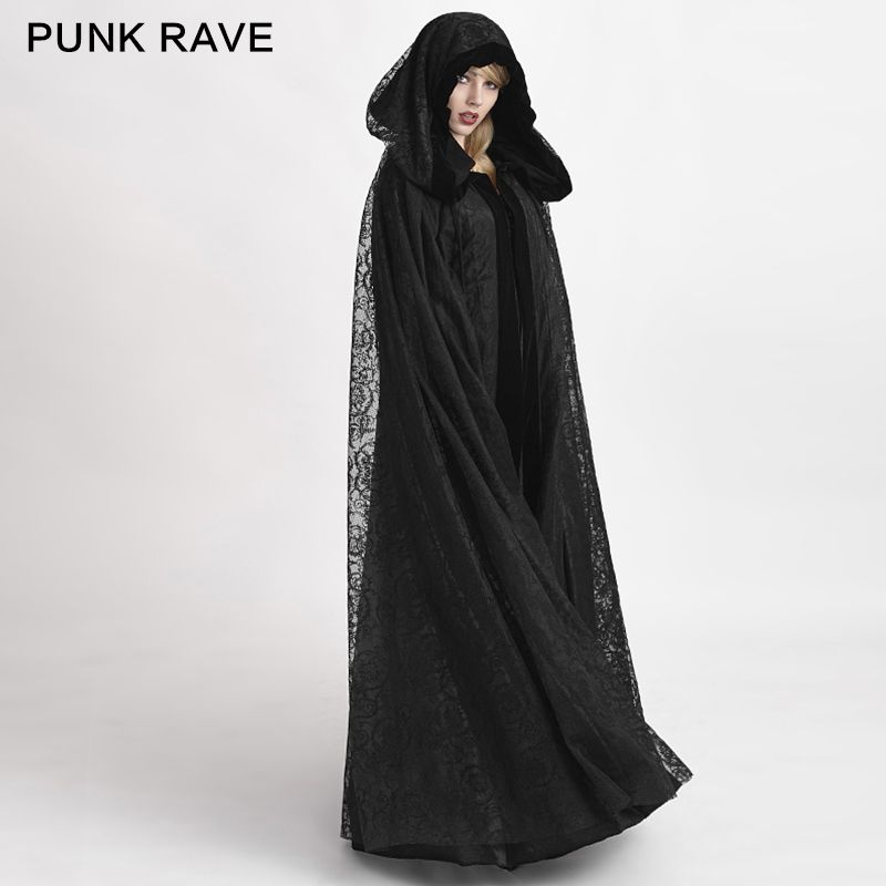 Y-629 black reversible Gothic flower pattern velvet fabric big cape long coat