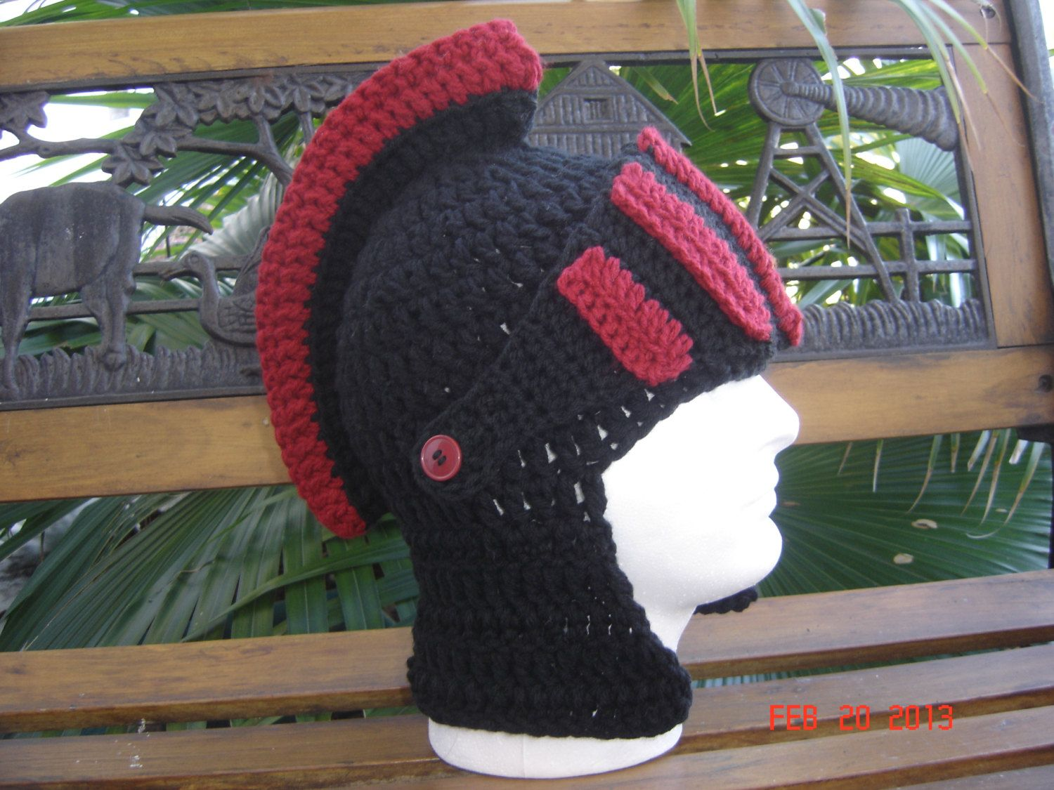 BLACK and RED Medevil Knight   Gladiator   Spartan beanie Winter hat face  warmer skiing snowboarding cap crochet helmet.  29.99 3470b8f5159
