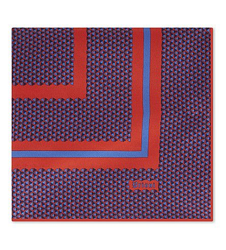 Blue Red Silk Pocket Square