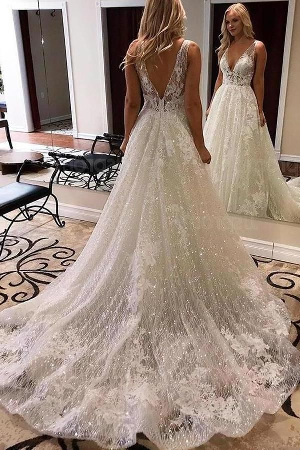 Luxurious Ball Gown V Neck Open Back Ivory Lace Wedding DressesSequins Beach Bridal Dresses XHNPST15259 7