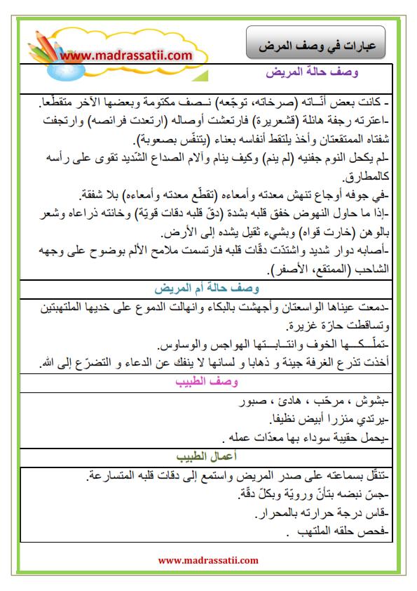 عبارات في وصف المرض موقع مدرستي School Motivation Education Arabic Language
