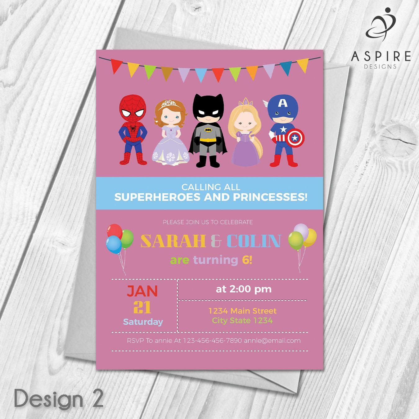 Personalised Childrens Princess and Superhero Birthday Party ...