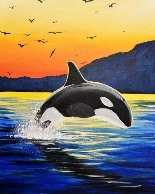 5d Diamond Painting Orca Sunset Kit Whale Painting Animal Paintings Acrylic Art Painting