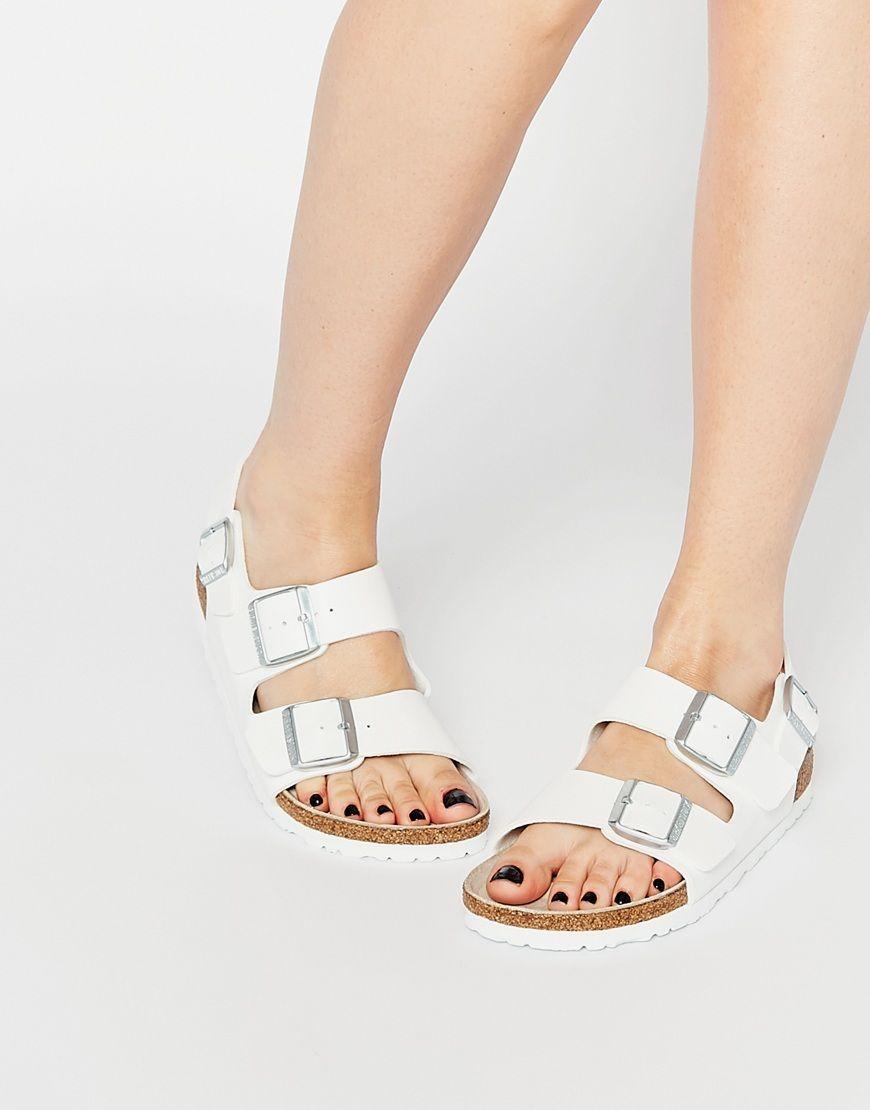 d10246cfd54 Birkenstock Milano Birko Flor White Slider Flat Sandals
