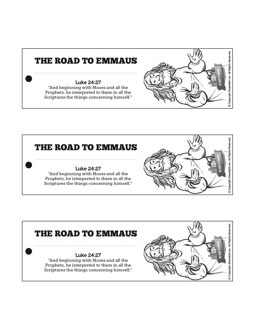 Free coloring pages road to emmaus - Luke 24 Road To Emmaus Bible Bookmarks The Road To Emmaus Is A Wonderful Lesson