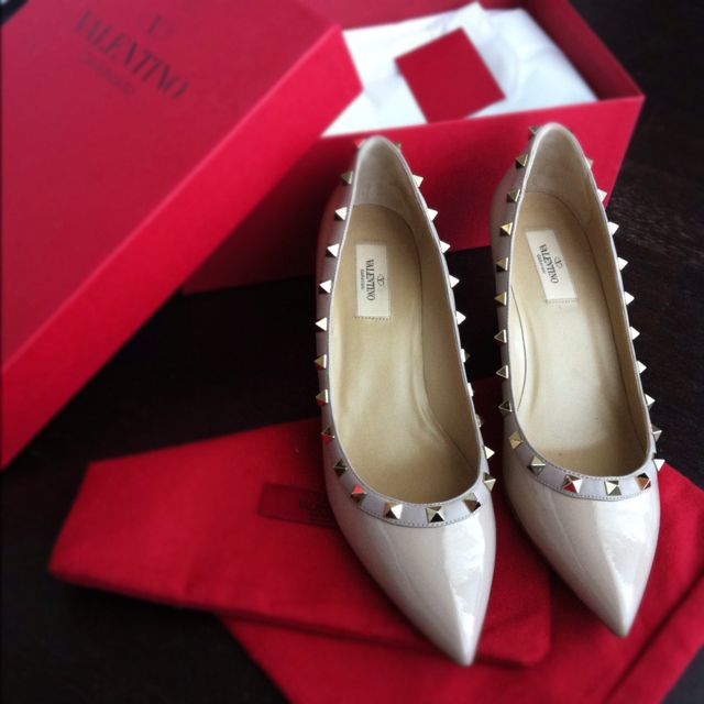 Valentino studded nude patent low wedge heel...
