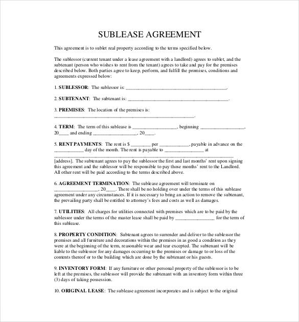 Landlord Sublease Agreement Template , 10+ Useful Sublease - landlord inventory template free