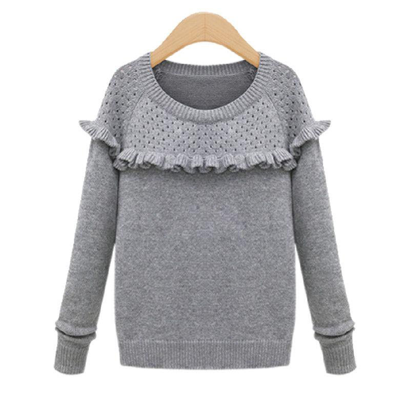 Womens Grey Plain Hollow Crew Neck Ruffle Sweater