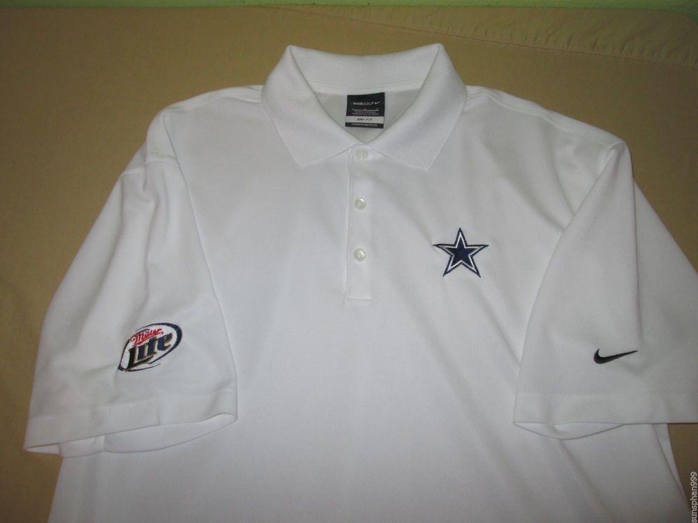 24e94b73d4 DALLAS COWBOYS NFL Polo Golf Size L - White - NIKE DRI FIT - MILLER LITE  BEER #Nike #DallasCowboys