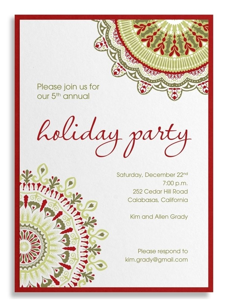 Company Party Invitation Sample Corporate Holiday Wording