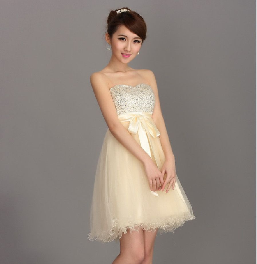 Womens dresses wedding guest  Find More Bridesmaid Dresses Information about Champagne Bridesmaid