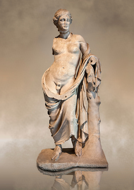 Greek Marble Statue Of Hermaphroditius Hermaphrodites A Mythical Being That Has Both Male Female Characteri Statue Greek Marble Statue Female Greek Statue