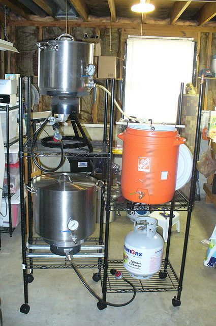 3 Tier Gravity Brew Rig On Wire Shelving Brew Sculpture