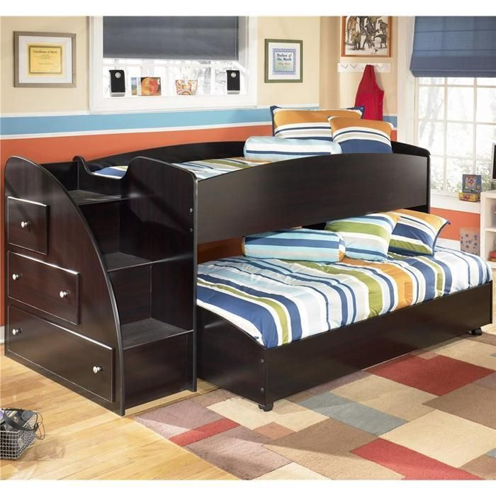 Twin Loft Bed With Caster Bed And Steps With Mattresses Nebraska