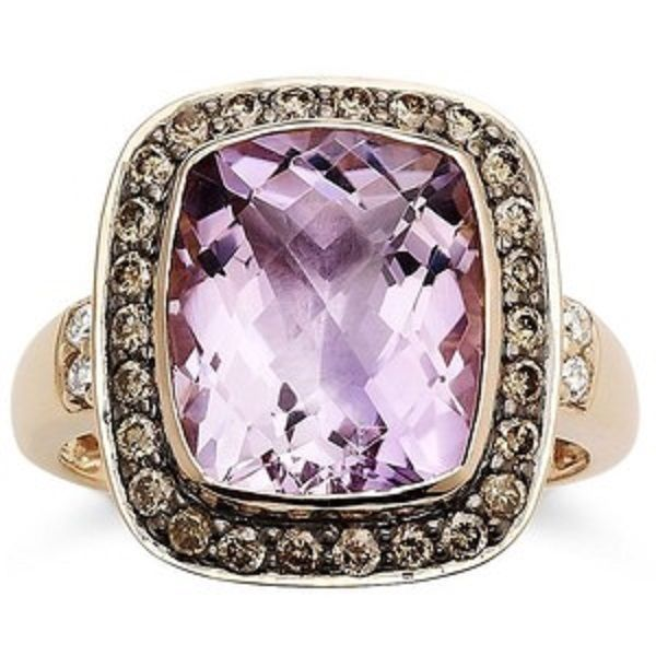 Le Vian Pink Amethyst And Chocolate Diamond Ring Set In