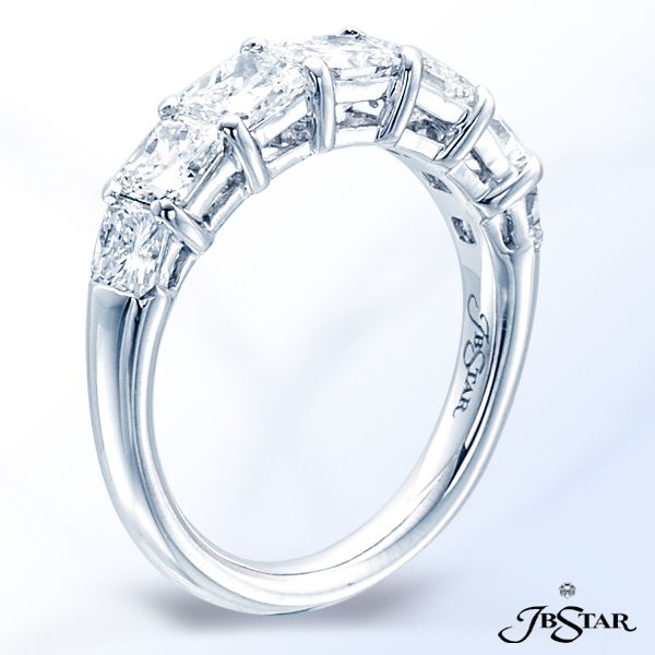 Style 2183 Handcrafted platinum diamond wedding band with seven square-emerald cut diamonds in a shared-prong setting. @jewelsbystar #diamond #emeraldcut #band