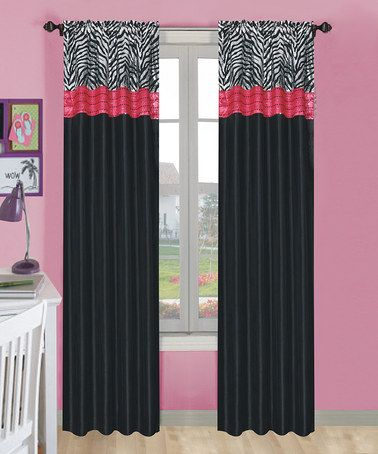 This Pink Black Zebra Curtain Panel Set Of Two Is Perfect Zulilyfinds Zebra Curtains Pink Zebra Rooms Zebra Room
