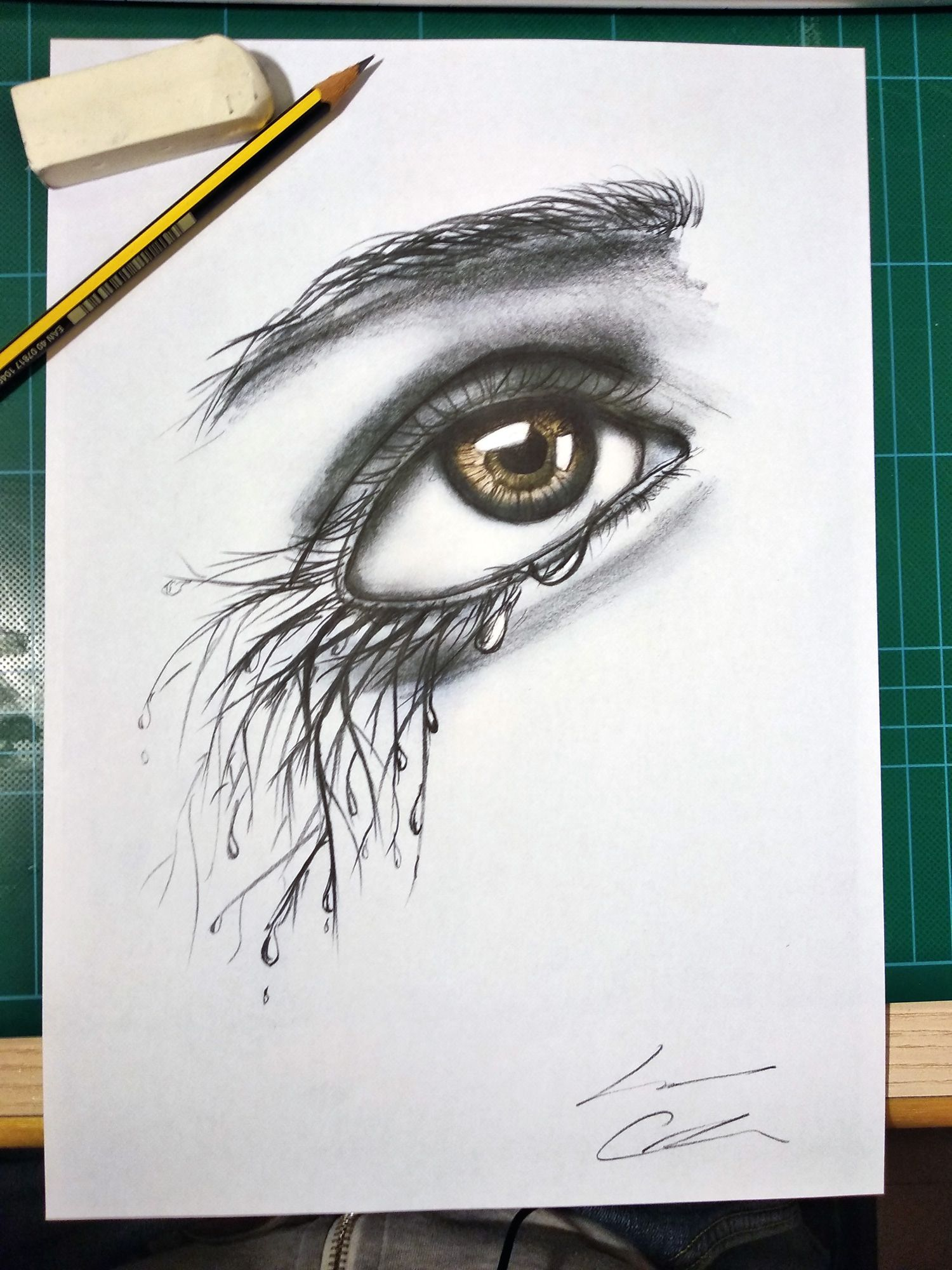 A sketch of woman eye re immaginated with crying tree art woman