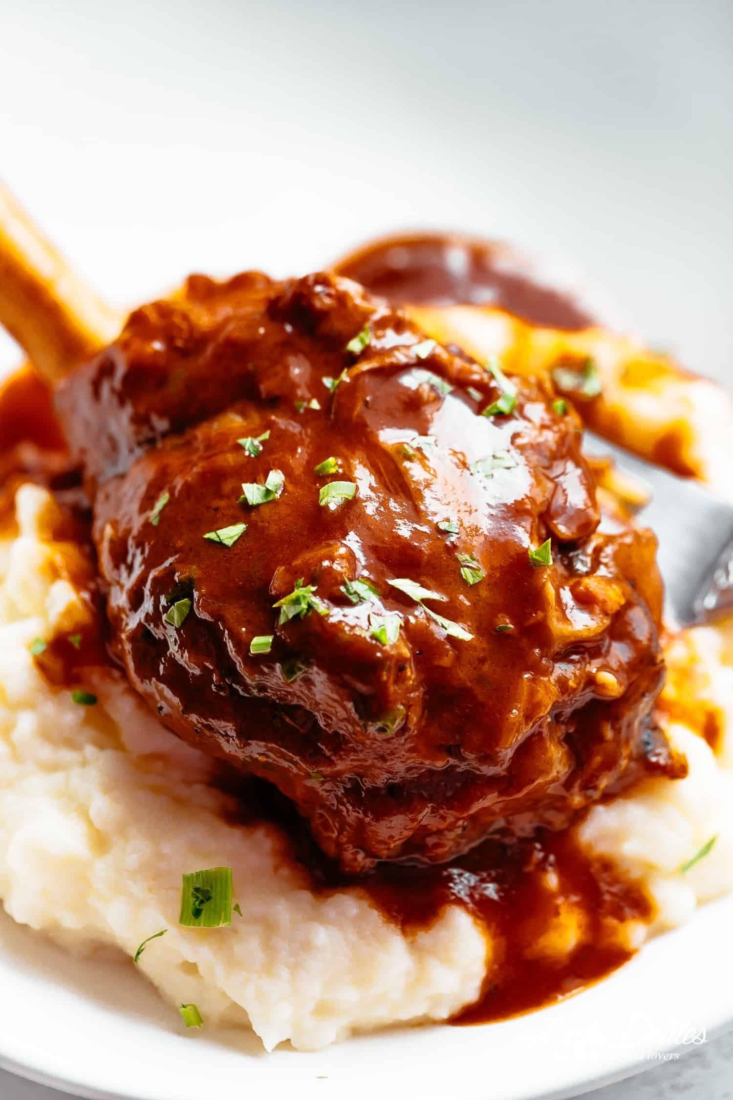 Tender Lamb Shank Served With Mashed Potatoes Cafedelites Com Lamb Shank Recipe Braised Lamb Braised Lamb Shanks